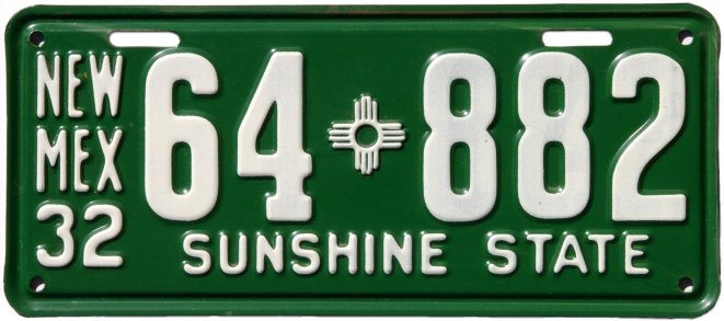 New Mexico Motor Vehicle Division Albuquerque Nm >> New Mexico License Plates A Brief History