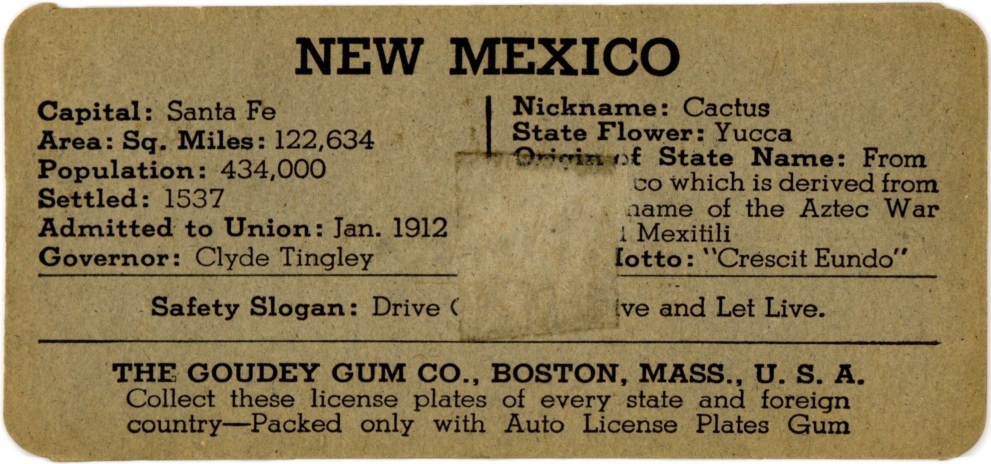 New Mexico Cereal & Gum Premiums License Plates