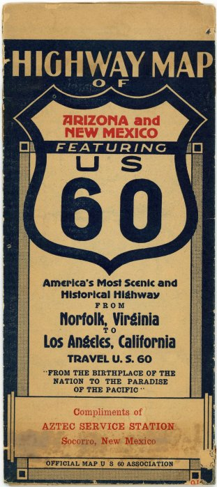 1930s U.S. Highway 60 Association New Mexico Road Map