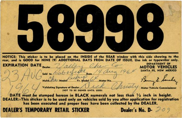 New Mexico Temporary License Plates