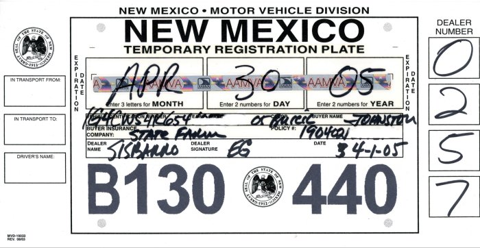 photograph regarding Printable Temporary License Plate called Contemporary Mexico Momentary License Plates