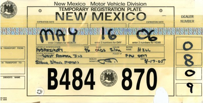 image relating to Printable Temporary License Plate named Fresh Mexico Momentary License Plates