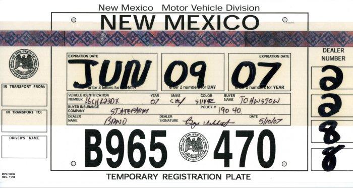 Temporary Tags Expired >> New Mexico Temporary License Plates