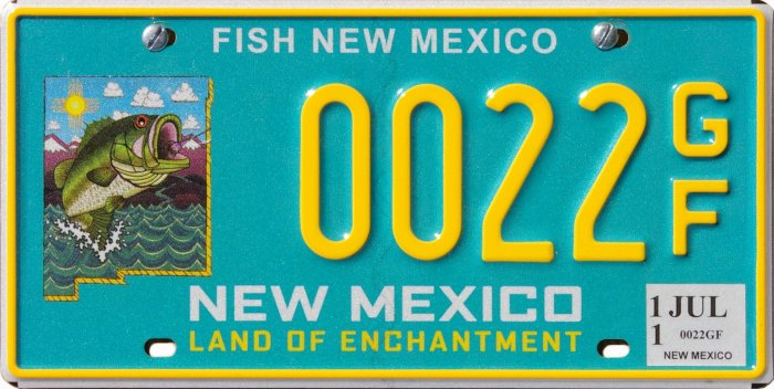 New mexico license plate type sets for New mexico fishing license